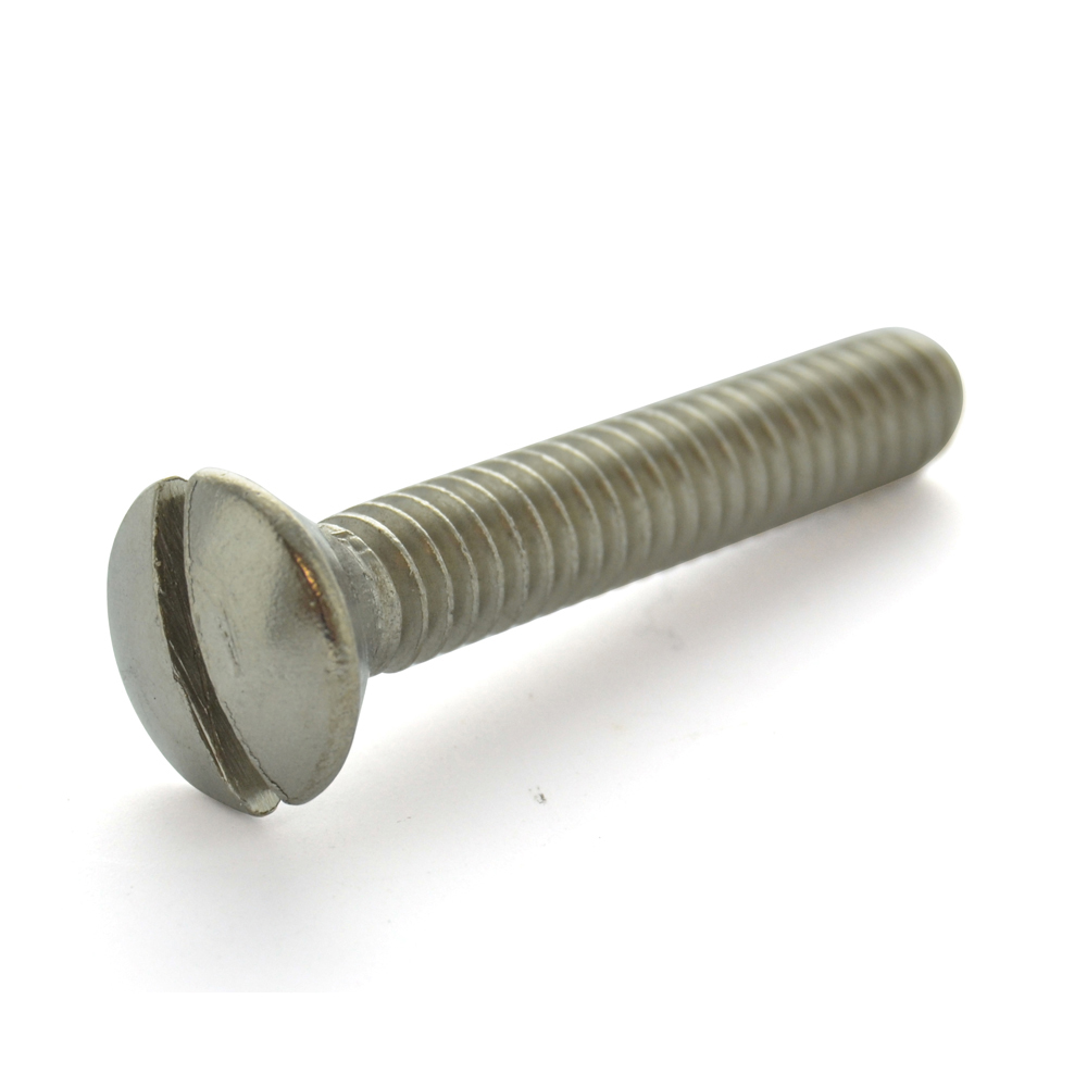 #10-24 x 1 Inch Coarse 18-8 Stainless Steel Slotted Drive Oval Countersunk Head Machine Screw