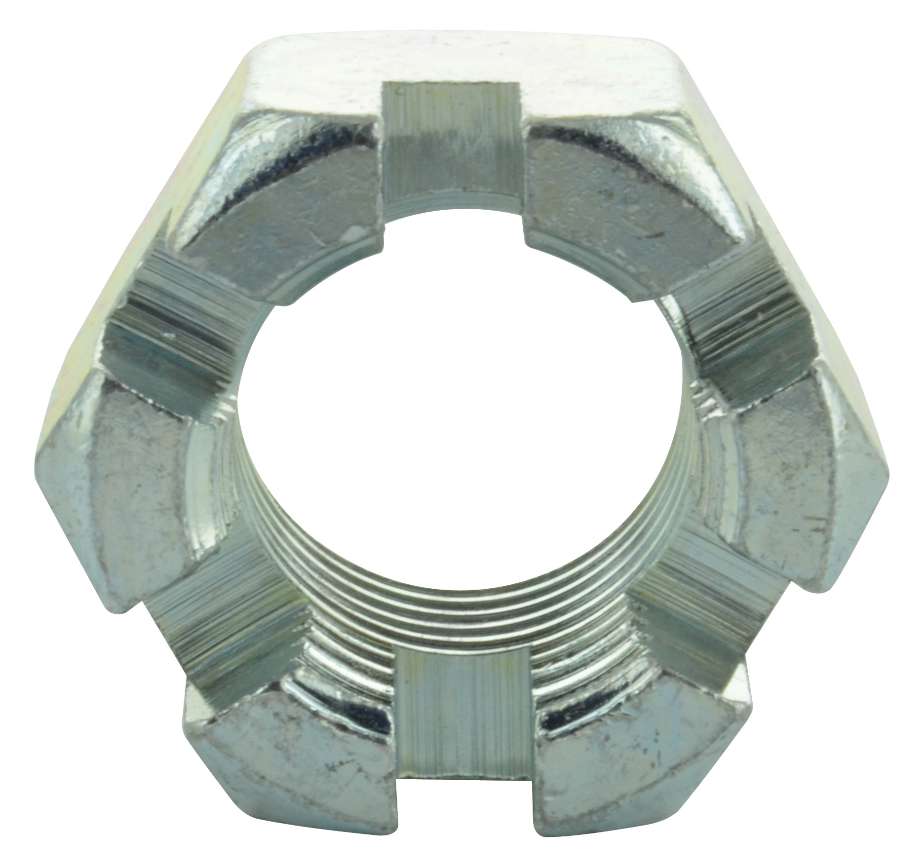 1-1/2-6 Coarse Zinc Plated Grade 2 Slotted Hex Nut