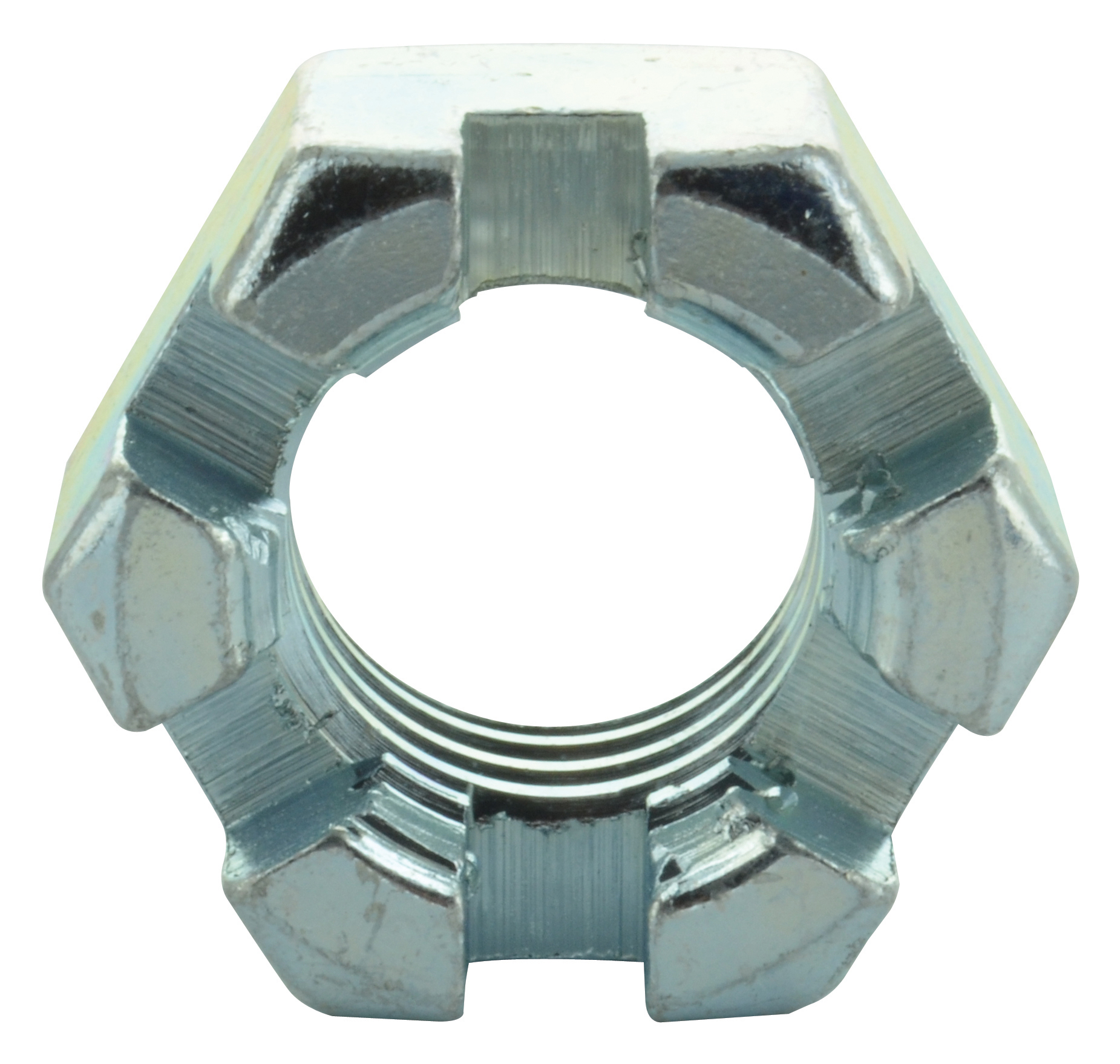 1-1/2-12 Fine Zinc Plated Grade 2 Slotted Finished Hex Nut