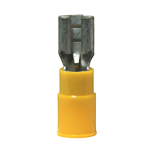 12-10 Gauge Female Push On Connector 1/4 Inch Tab PVC Insulated Yellow