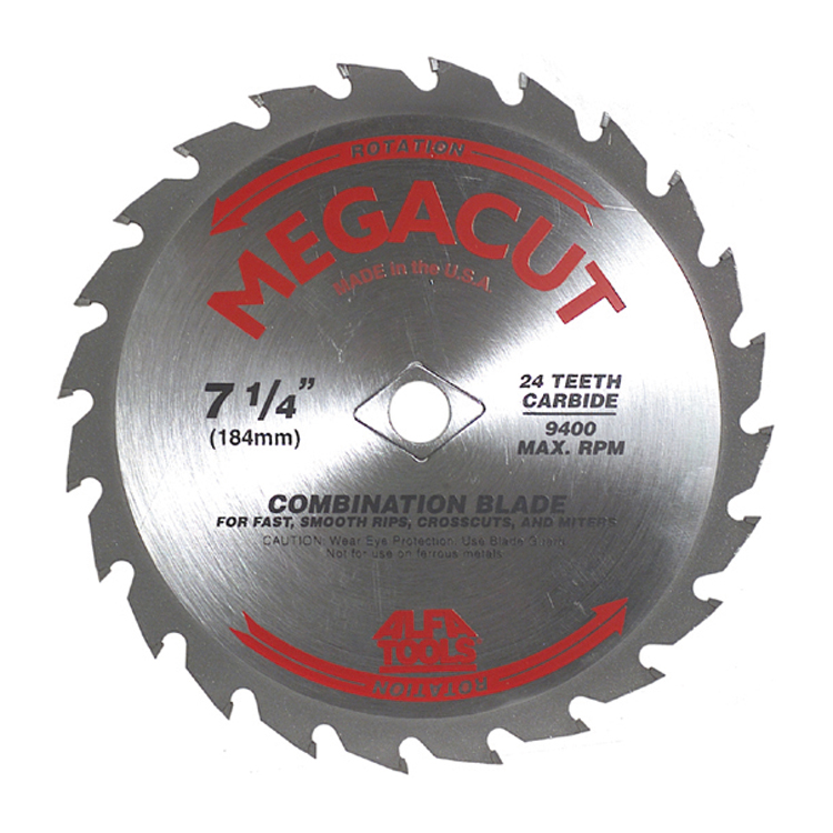 7-1/4 Inch 24 Teeth Heavy Duty Megacut Combination Circular Saw Blade