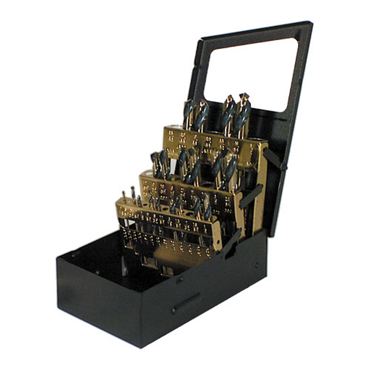 13 Piece Amber Gold Hi-Molybdenum Tool Steel Mechanics Length Drill Starter Set With Index