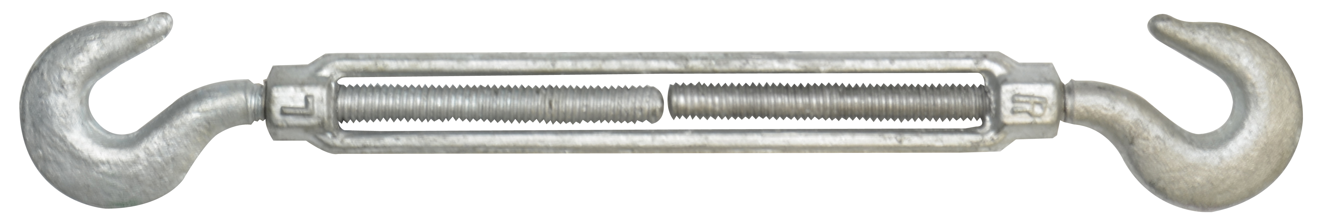 1/2 Inch x 12 Inch Hot Galvanized 1030 Carbon Steel Hook and Hook Turnbuckle