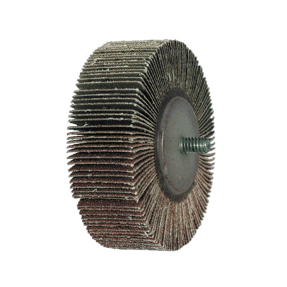 2 Inch x 1 Inch 80 Grit Aluminum Oxide Threaded Flap Wheel - Pack of 100