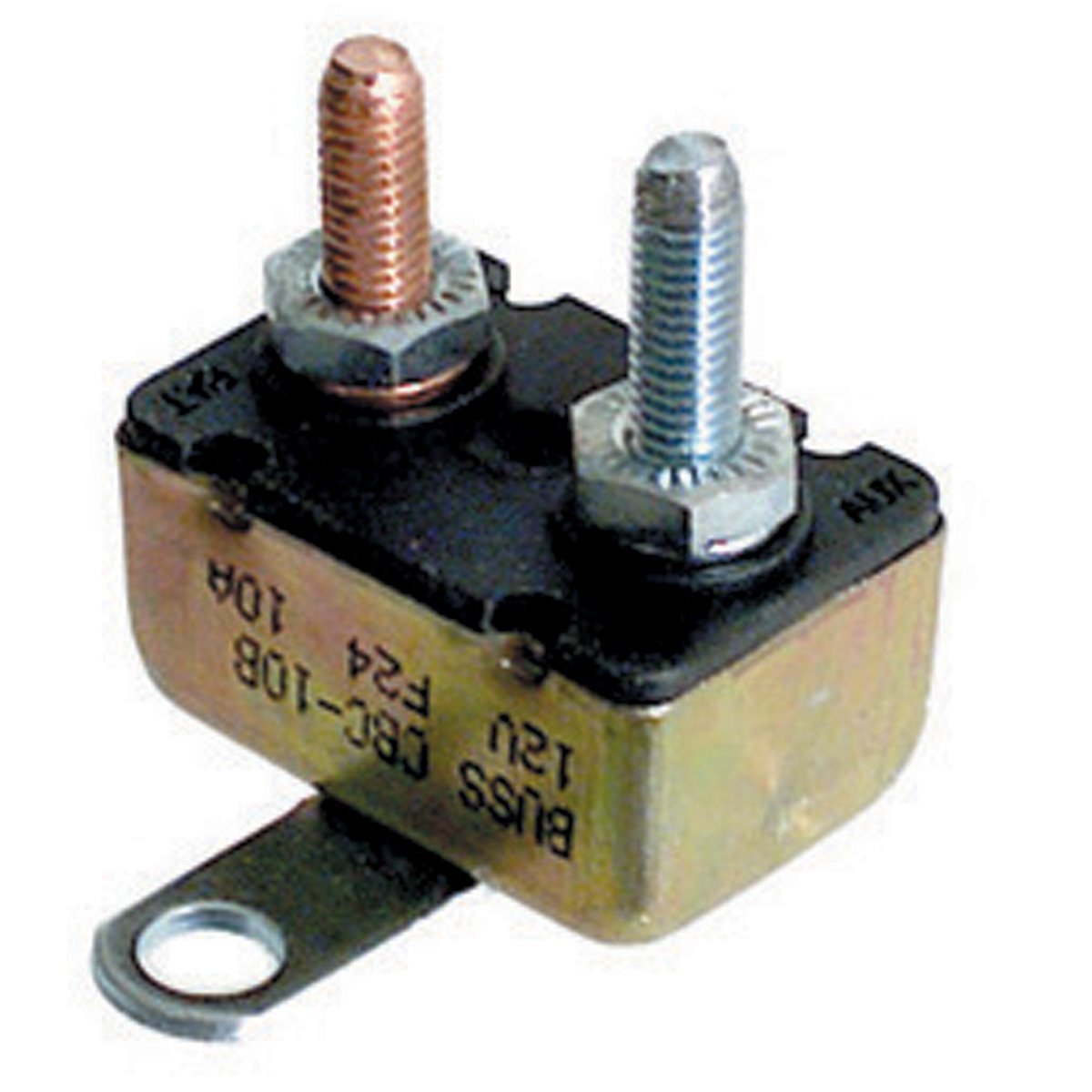 10 Amp 14 Volt Dc 1.5 Ka At 14 Volt Dc #10-32 Stud Thermoplastic With Steel Metal Cover Type I Auto Reset Automotive Circuit Breaker With Crosswise Bracket