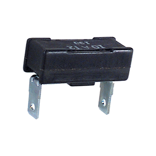 10 Amp 12 Volt Dc Thermoplastic Type Ii Modified Reset Mack Trucks Quick-Connect Circuit Breaker With 1/4 Inch Blade Mount On 1 Inch Center