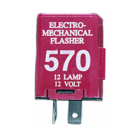 12 Volt 2 Pin Electro-Mechanical Signal Flasher Extended Life Super-Duty
