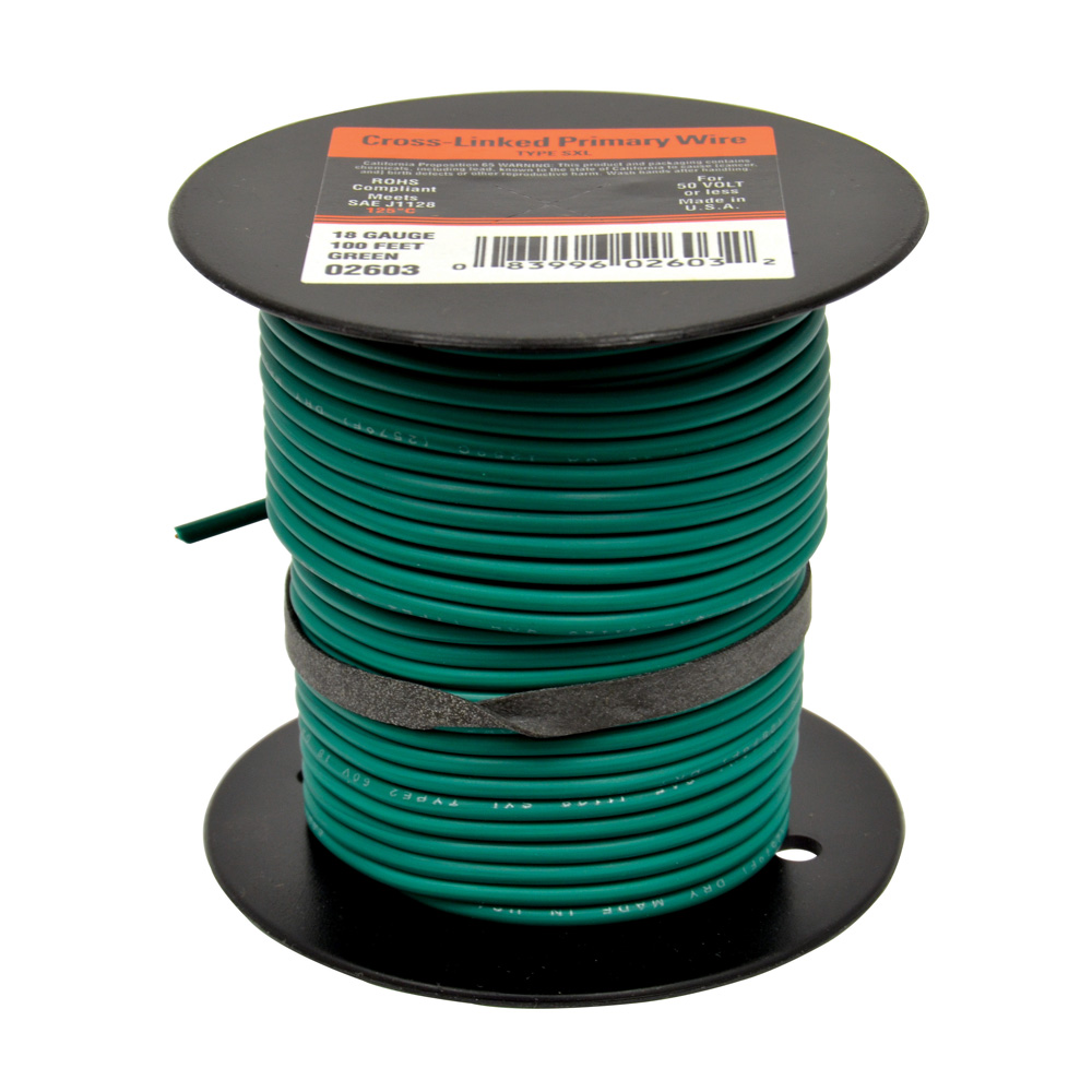 10 AWG Cross Link Primary Wire 100 Foot Roll Green