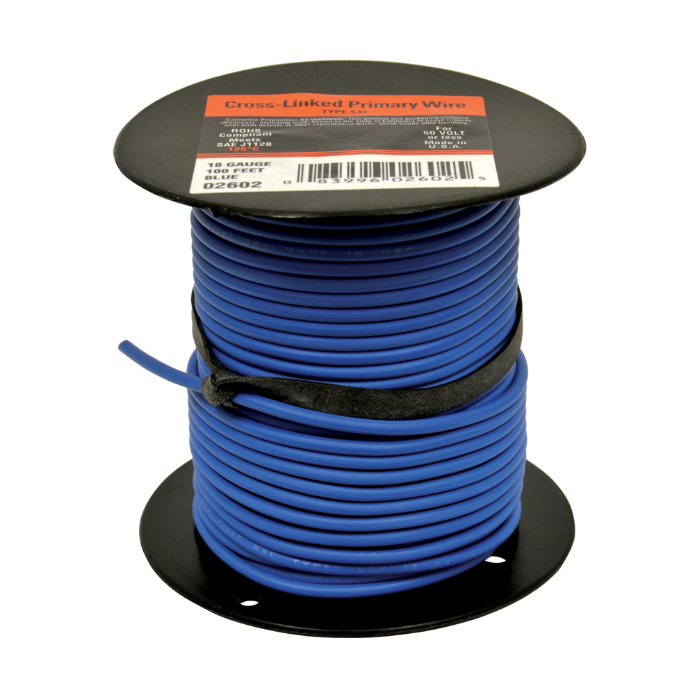 10 AWG Cross Link Primary Wire 100 Foot Roll Blue