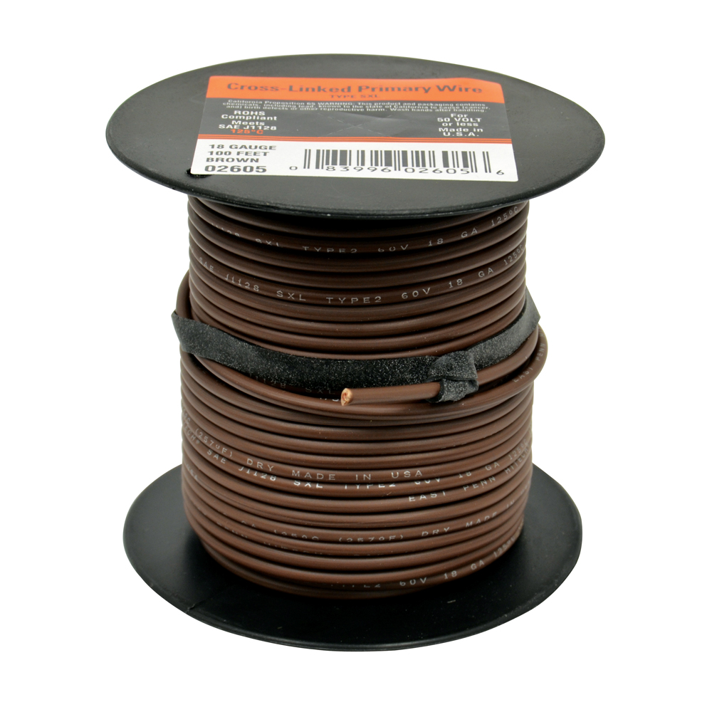 10 AWG Cross Link Primary Wire 100 Foot Roll Brown
