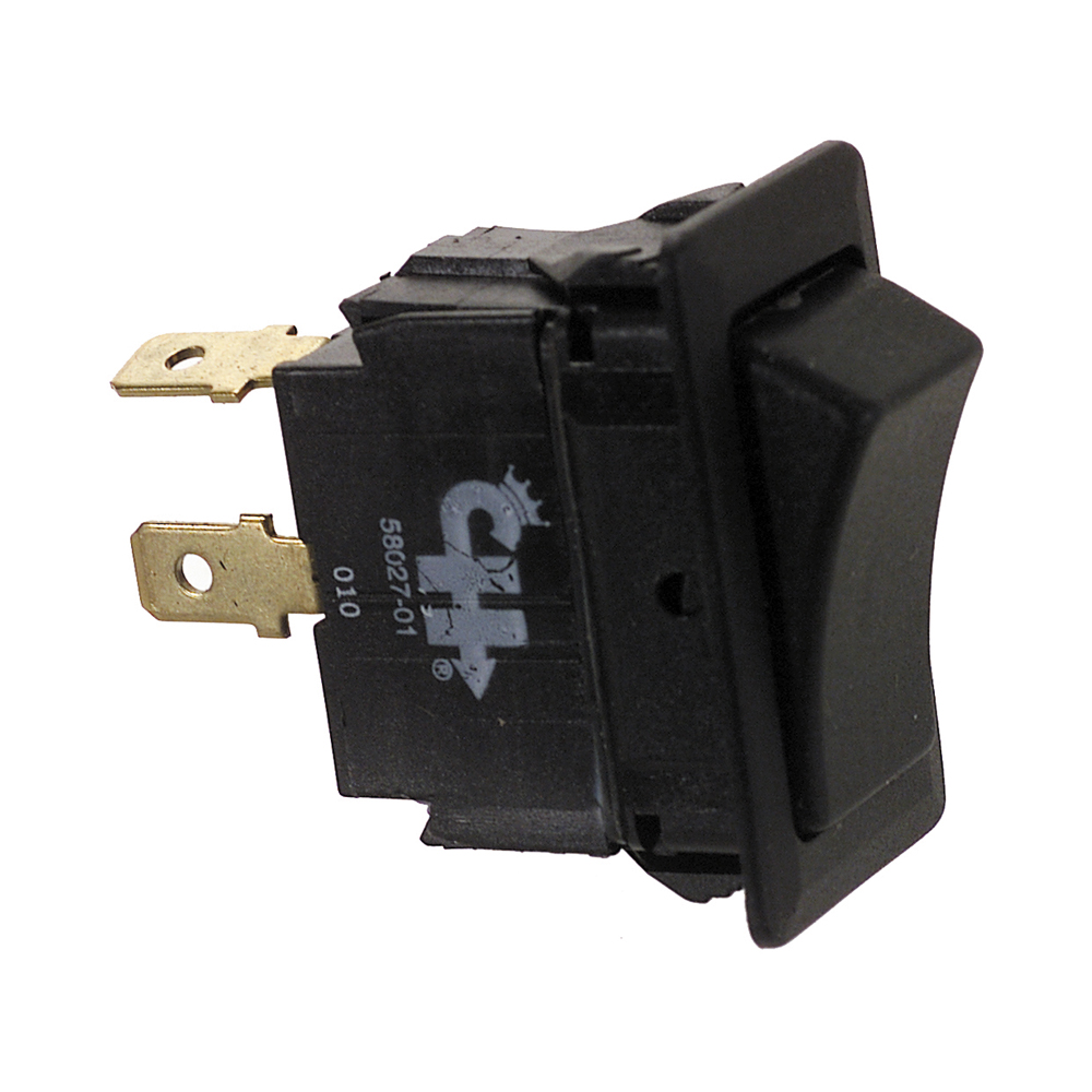 24 Volt Dc Dpst On-Off Maintained Four Blade Terminal Non-Glare Matte Black Plastic Switch