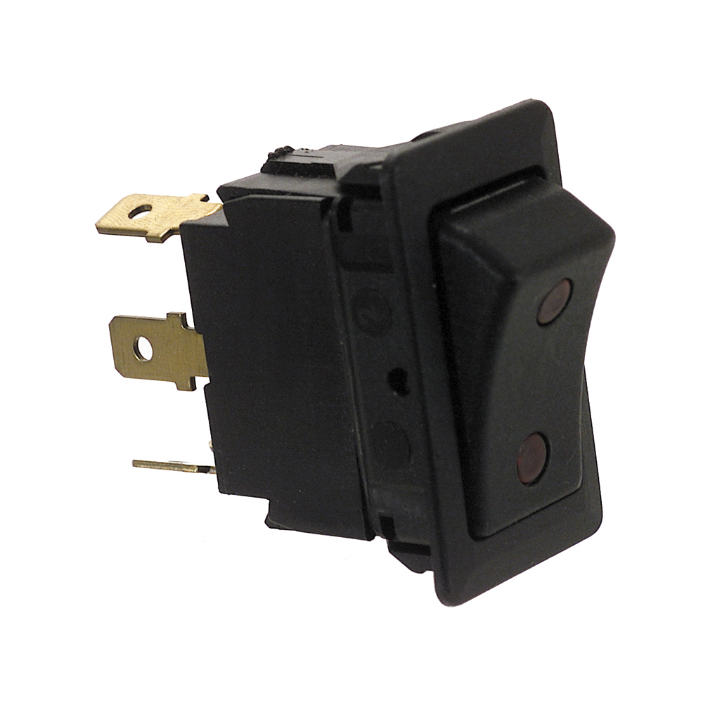 24 Volt Dc Spdt On-Off-On Four Blade Terminal Non-Glare Matte Black Plastic Switch With Dependent Illumination