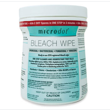 Microdot® Bleach Wipes - Canister of 160