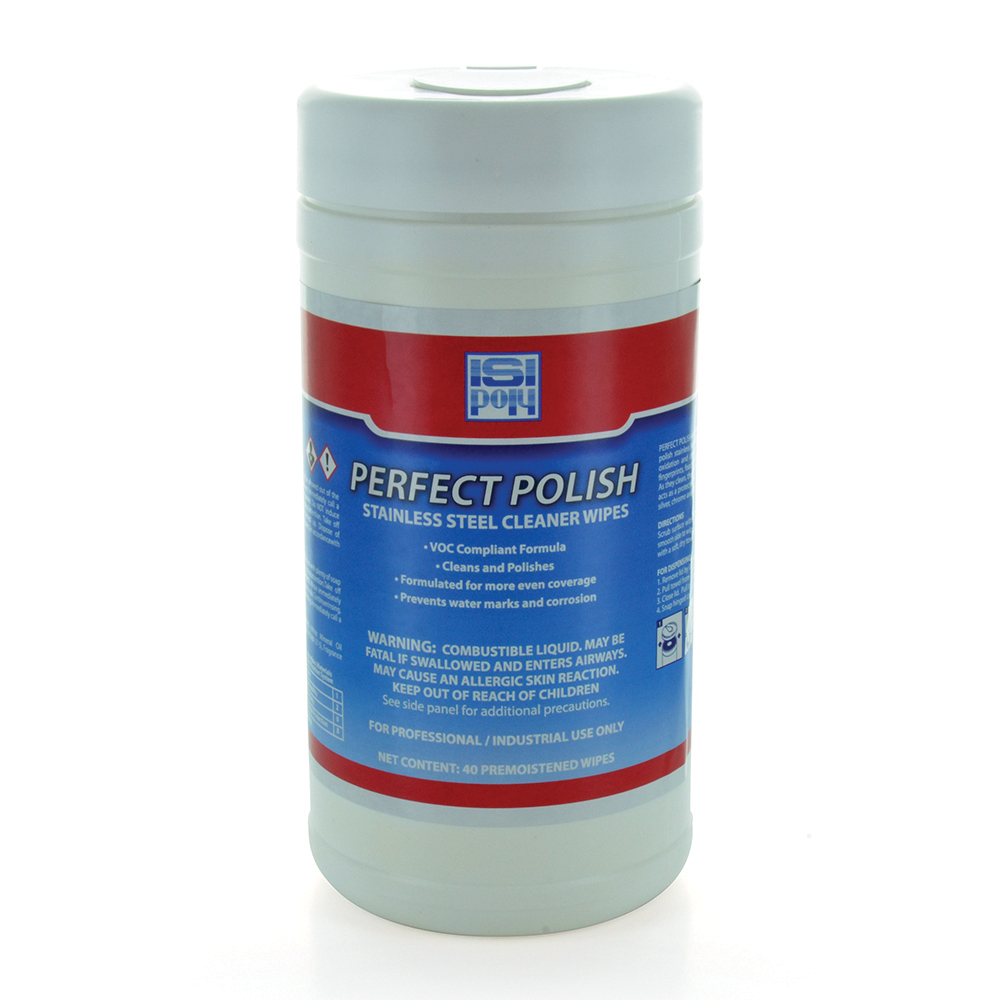 Isi Perfect Polish Stainless Steel Cleaner Wipes - Tub of 40