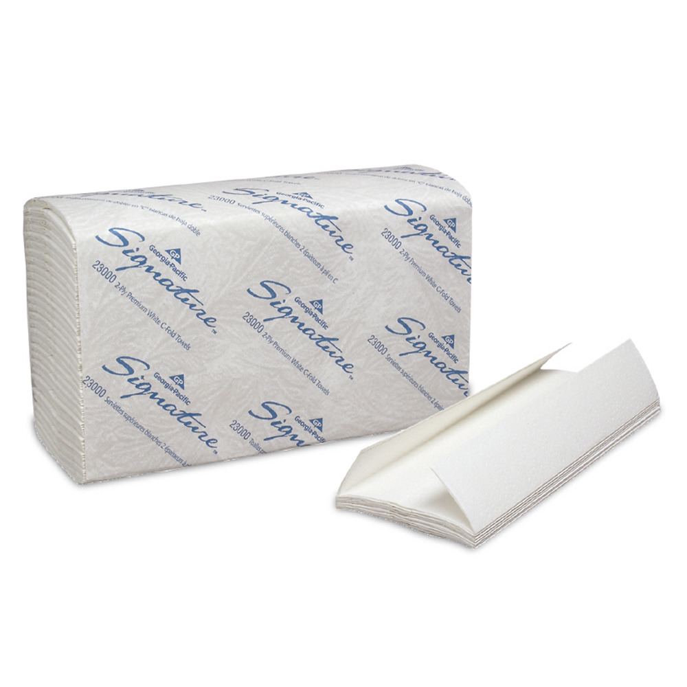 10-1/10 Inch x 13-1/5 Inch Signature 2-Ply Premium C-Fold Paper Towels Pack of 120 Sheets / 12 Packs Per Case