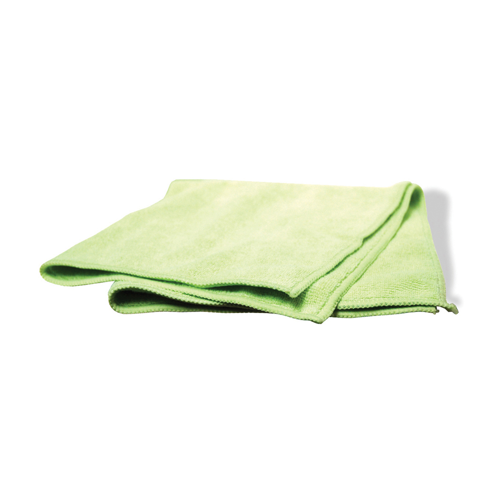 16 Inch x 16 Inch Green Polyester Industrial Grade Microfiber Towel - Pack of 12