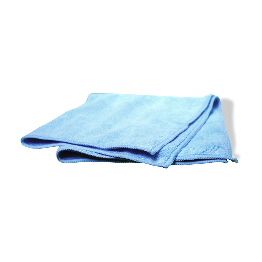 16 Inch x 16 Inch Blue Polyester Industrial Grade Microfiber Towel - Pack of 12