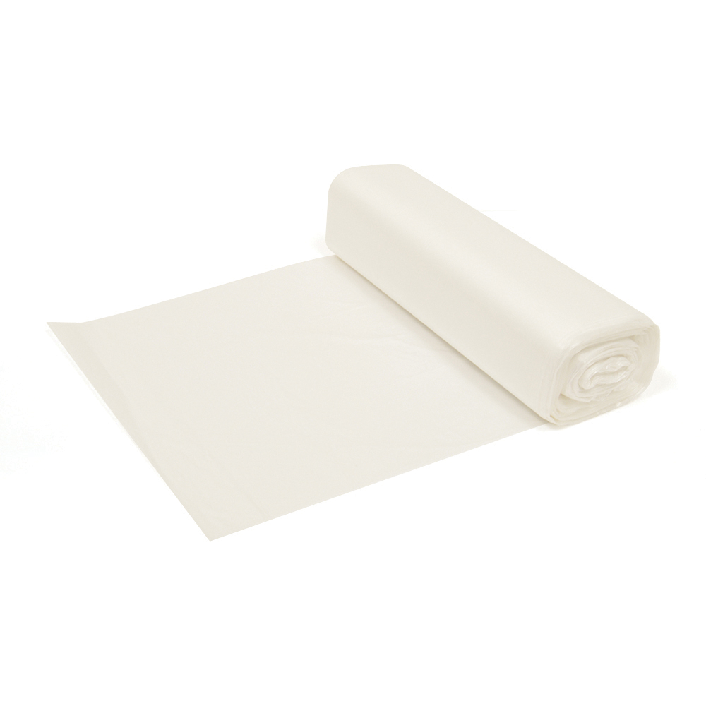 20 - 30 Gal 37 Inch x 30 Inch x 10 Micron Natural High Density Inteplast Coreless Roll Liner - 500 Per Case