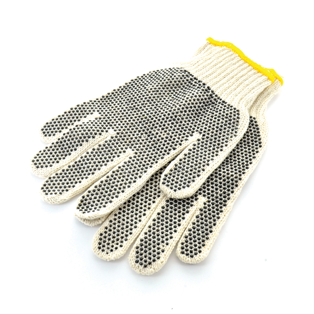Cotton String Knit Gloves With Grip Dots Small Pair