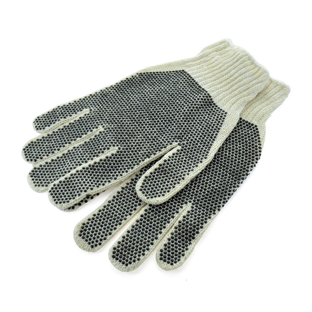 Large Natural White Cotton Polyester Pvc Dots Premium Glove