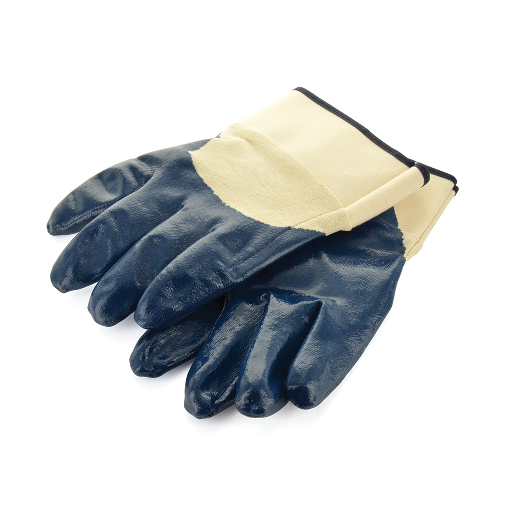 Nitrile Palm Safety Gloves With Cuff Large Pair